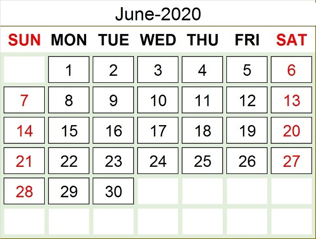 June 2020 Calendar With Holidays United States