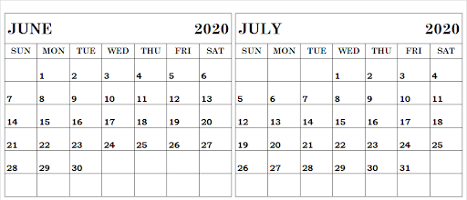 June July 2020 Calendar With Notes