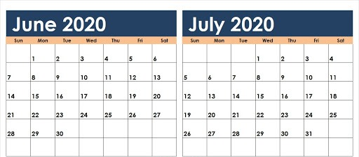 June and July 2020 Calendar