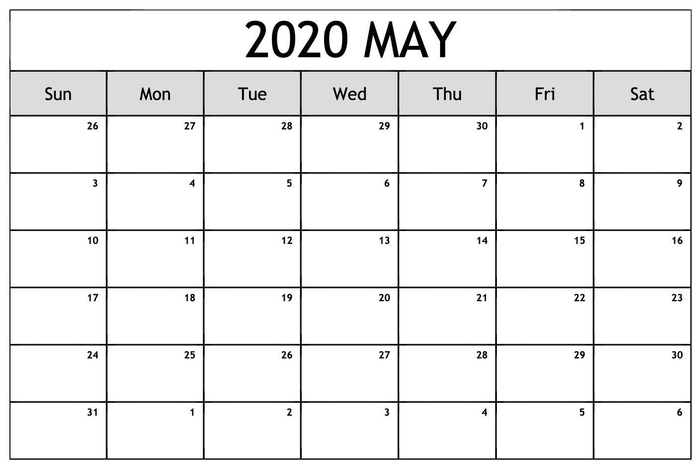 May 2020 Blank Calendar with Holidays