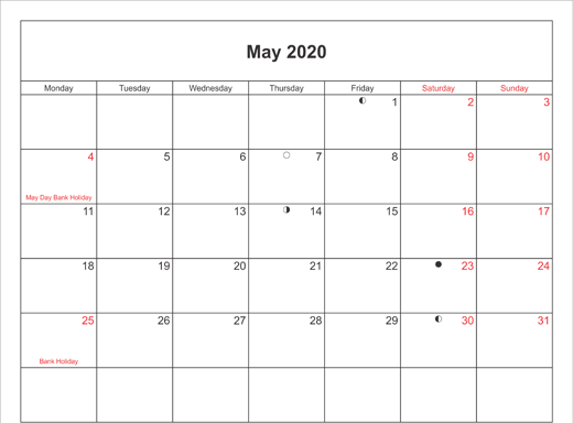 May 2020 Calendar Canada with Holidays