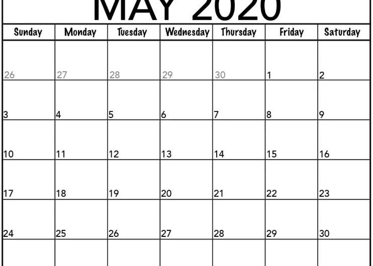 Printable May 2020 Calendar Template in PDF, Word, Excel With Holidays