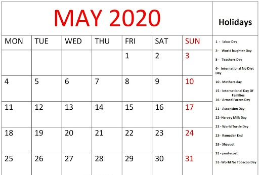 May 2020 Calendar with Holidays US