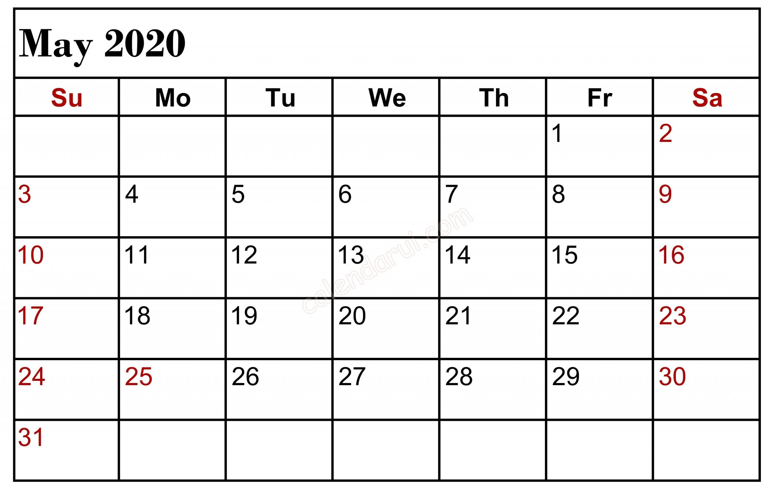 May 2020 Calendar with Holidays Uk