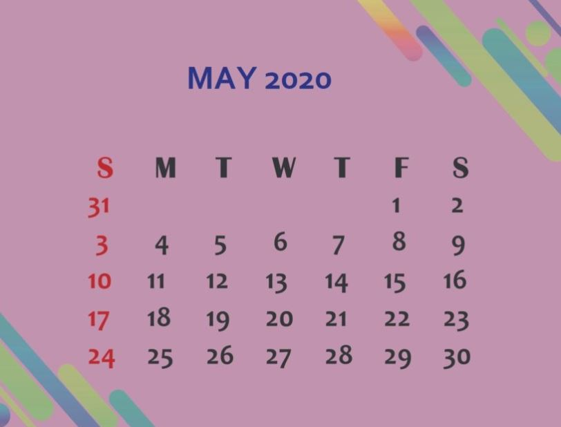 May 2020 Cute Calendar Wallpaper
