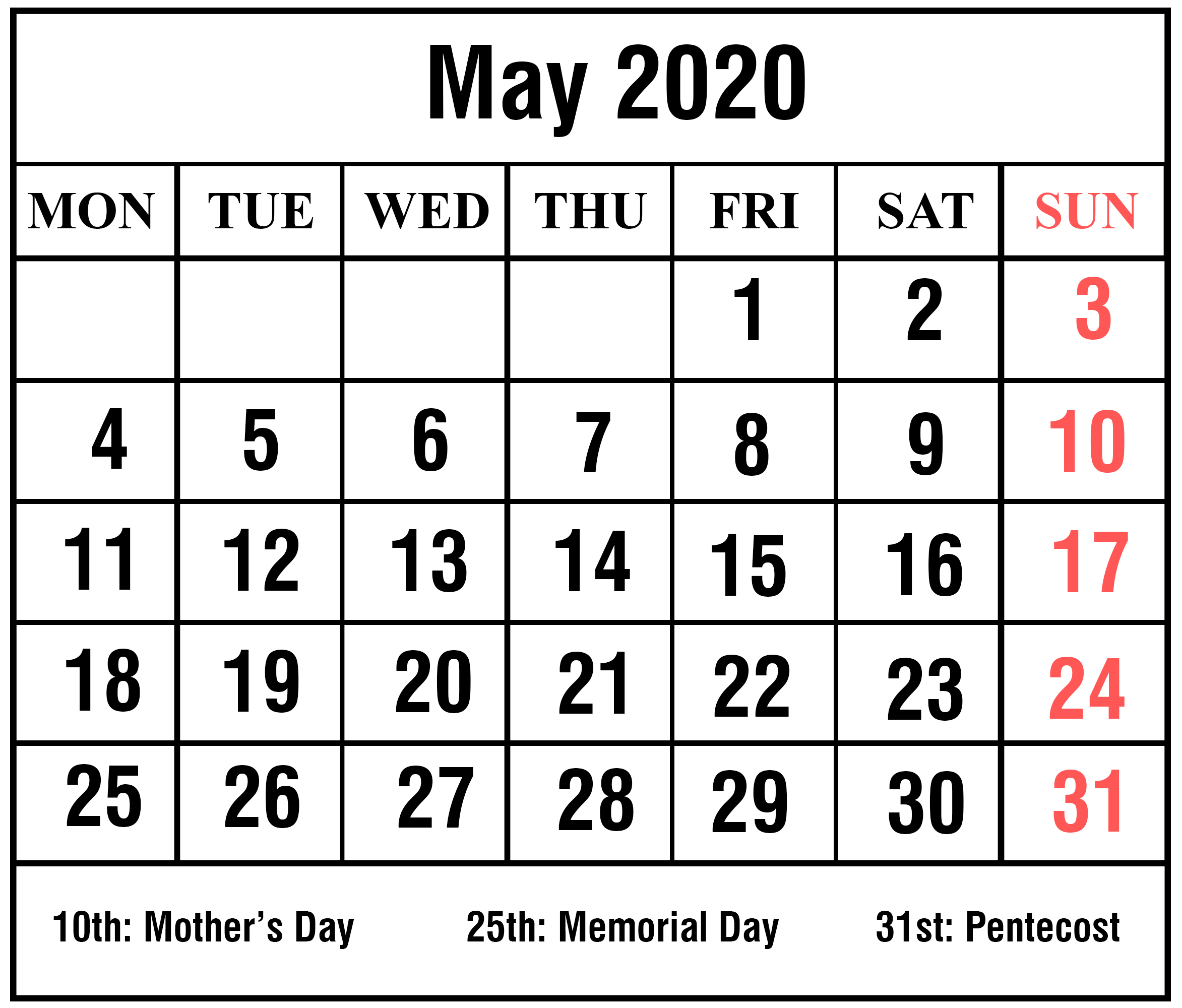 May 2020 Moon Calendar Template with Holidays