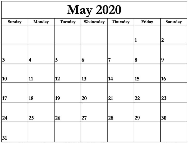Printable May 2020 Calendar Template In Pdf Word Excel With Holidays