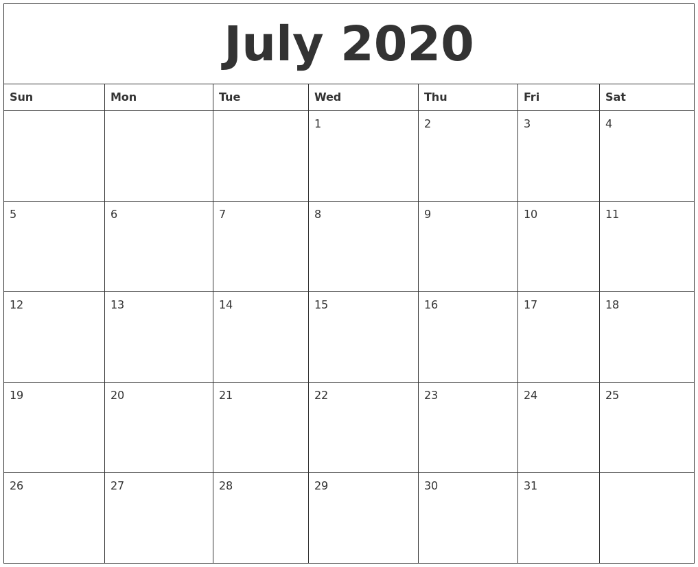 Editable July 2020 Calendar A4 Size