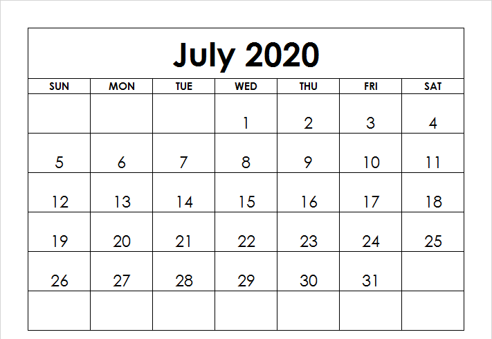 Editable July 2020 Calendar Landscape