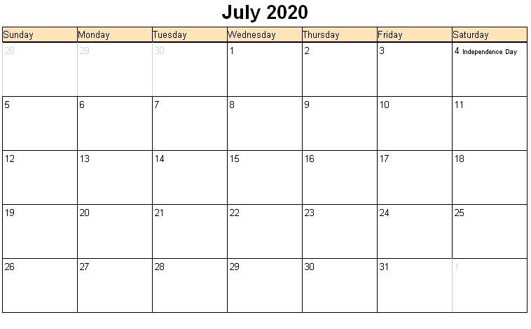 Editable July 2020 Calendar Portrait