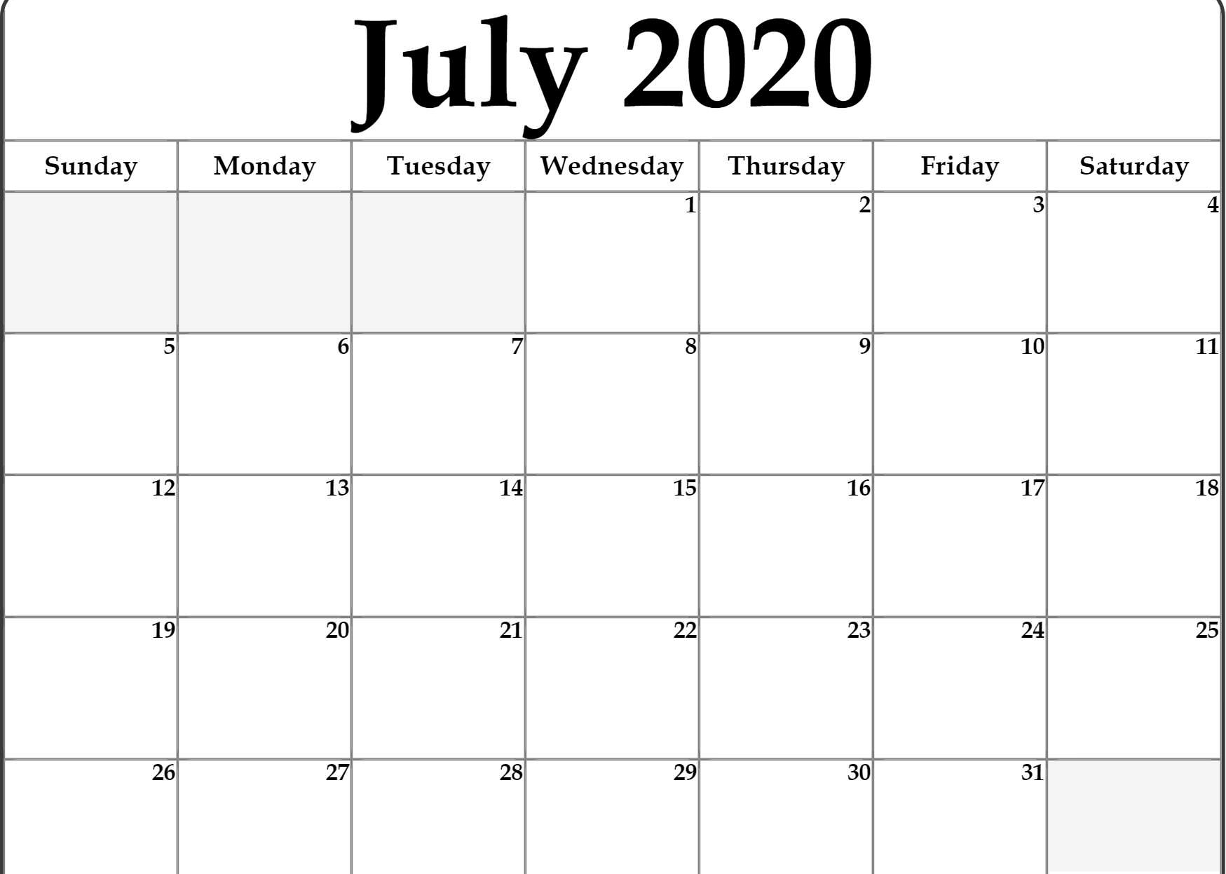 Editable July 2020 Calendar Template