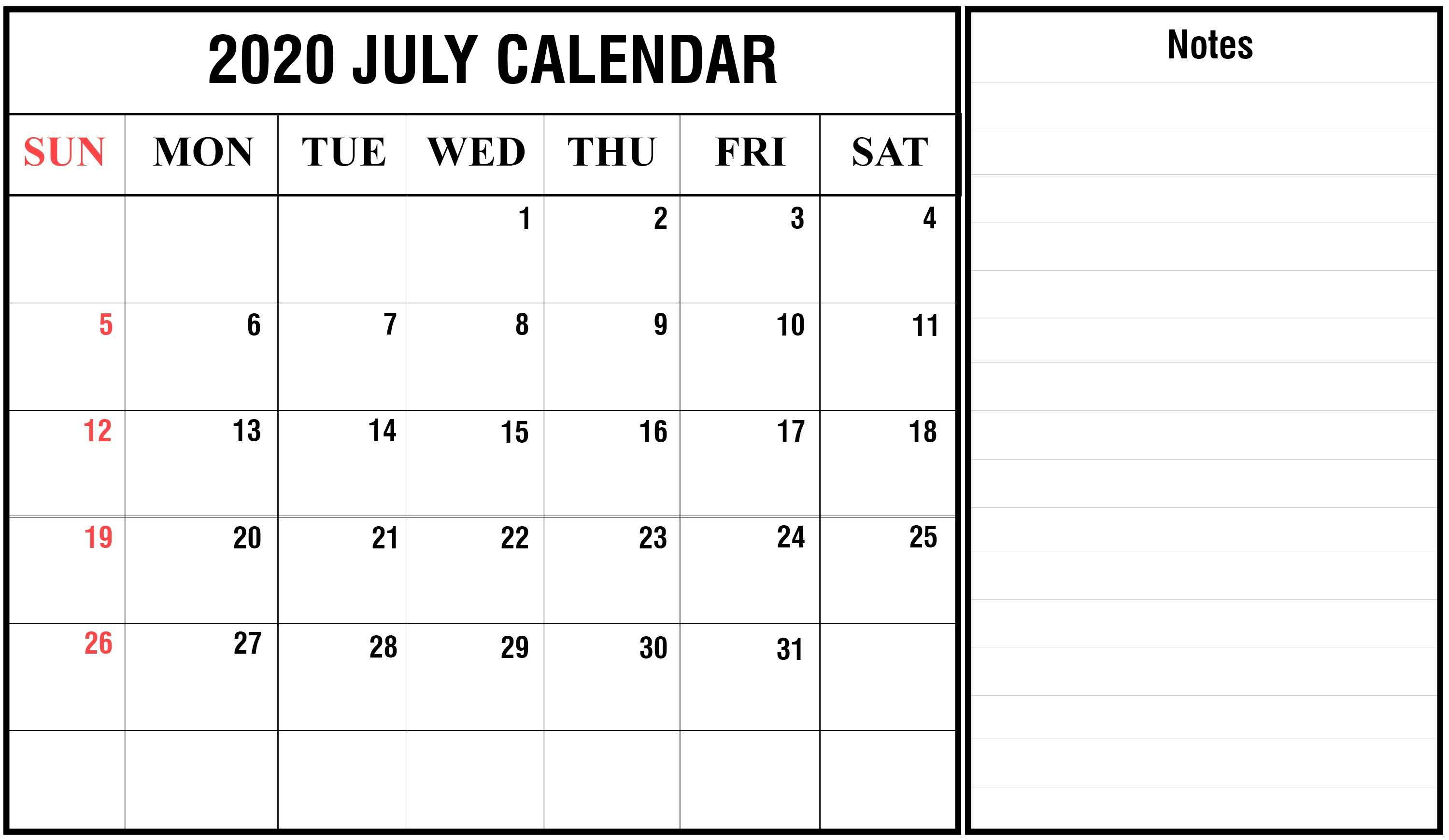 Editable July 2020 Calendar with notes