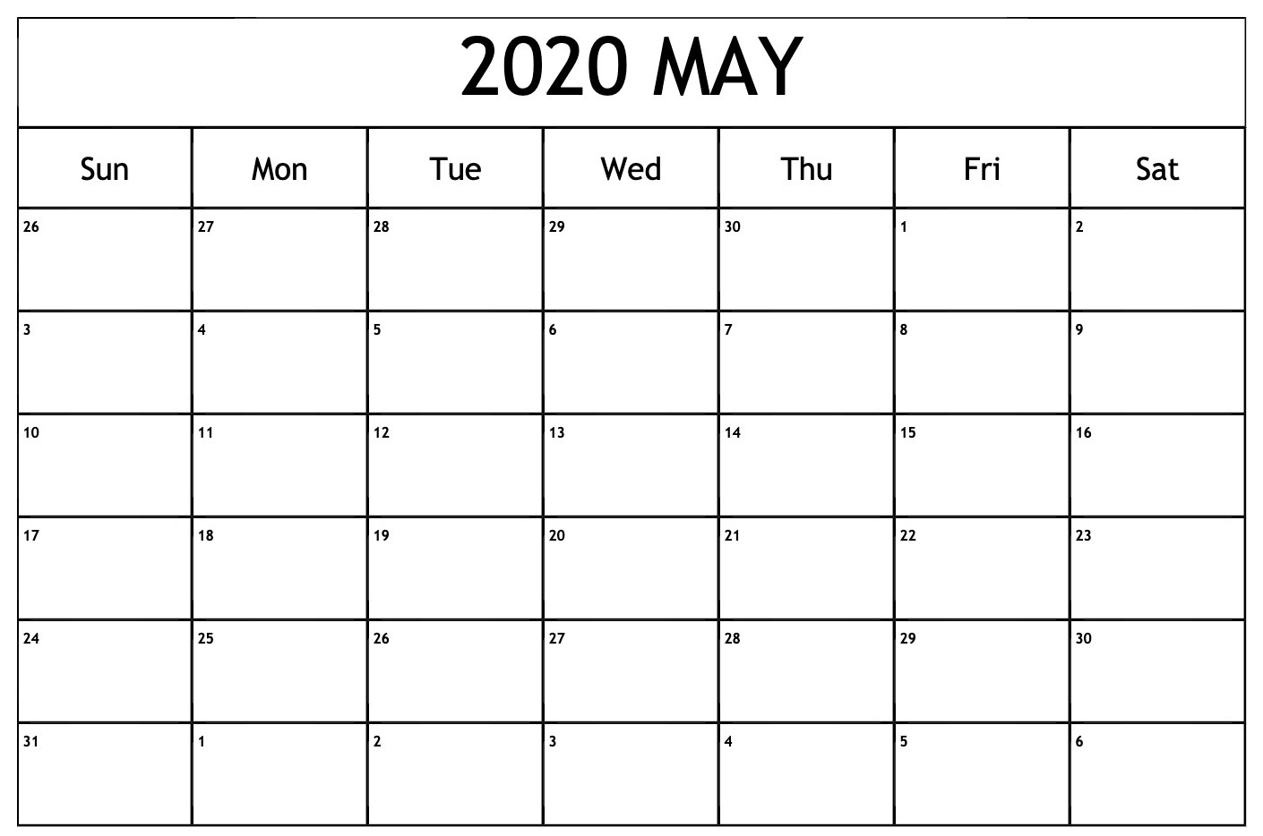 Editable May 2020 Calendar Blank Templates