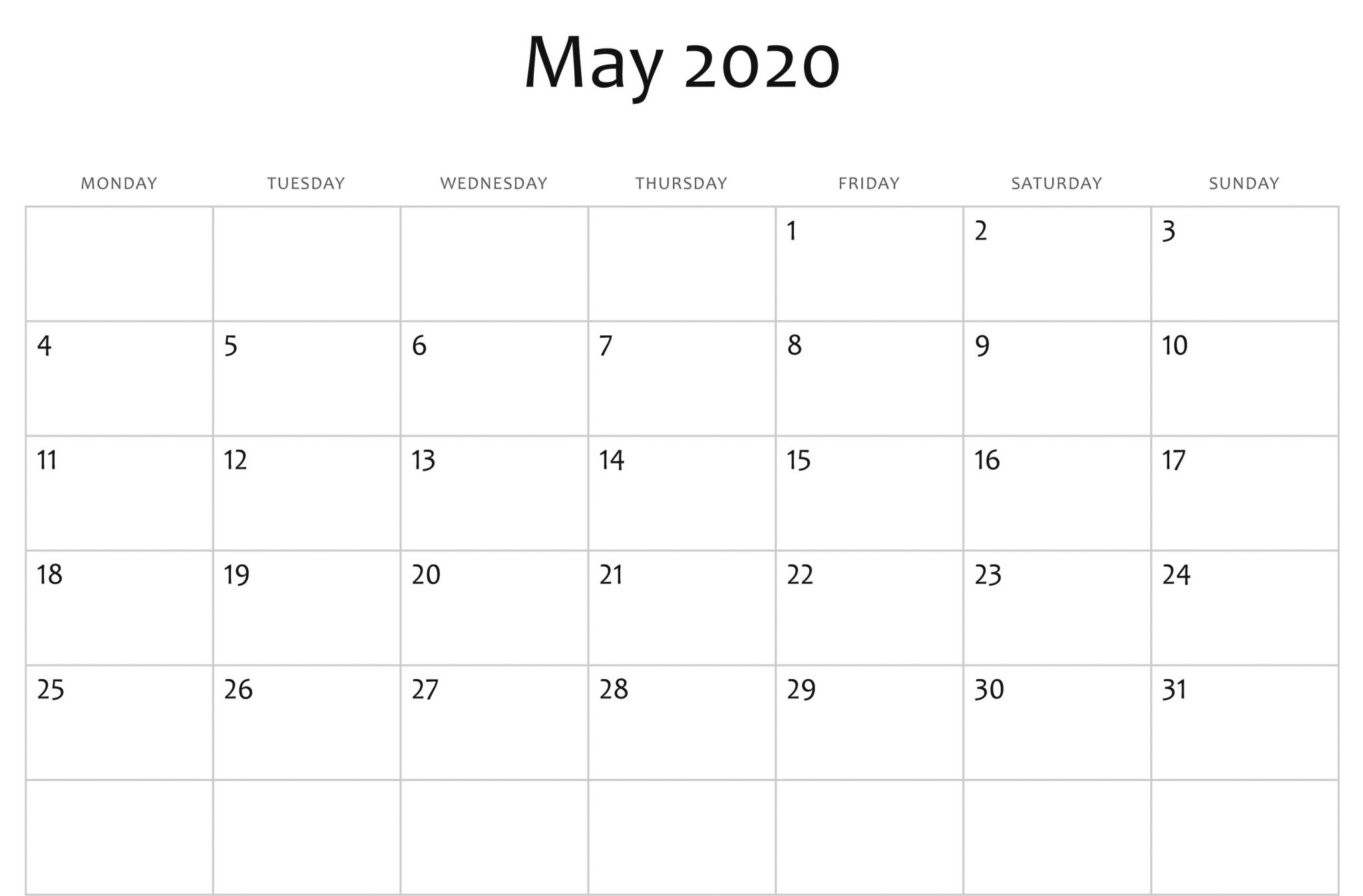 Editable May 2020 Calendar Cute