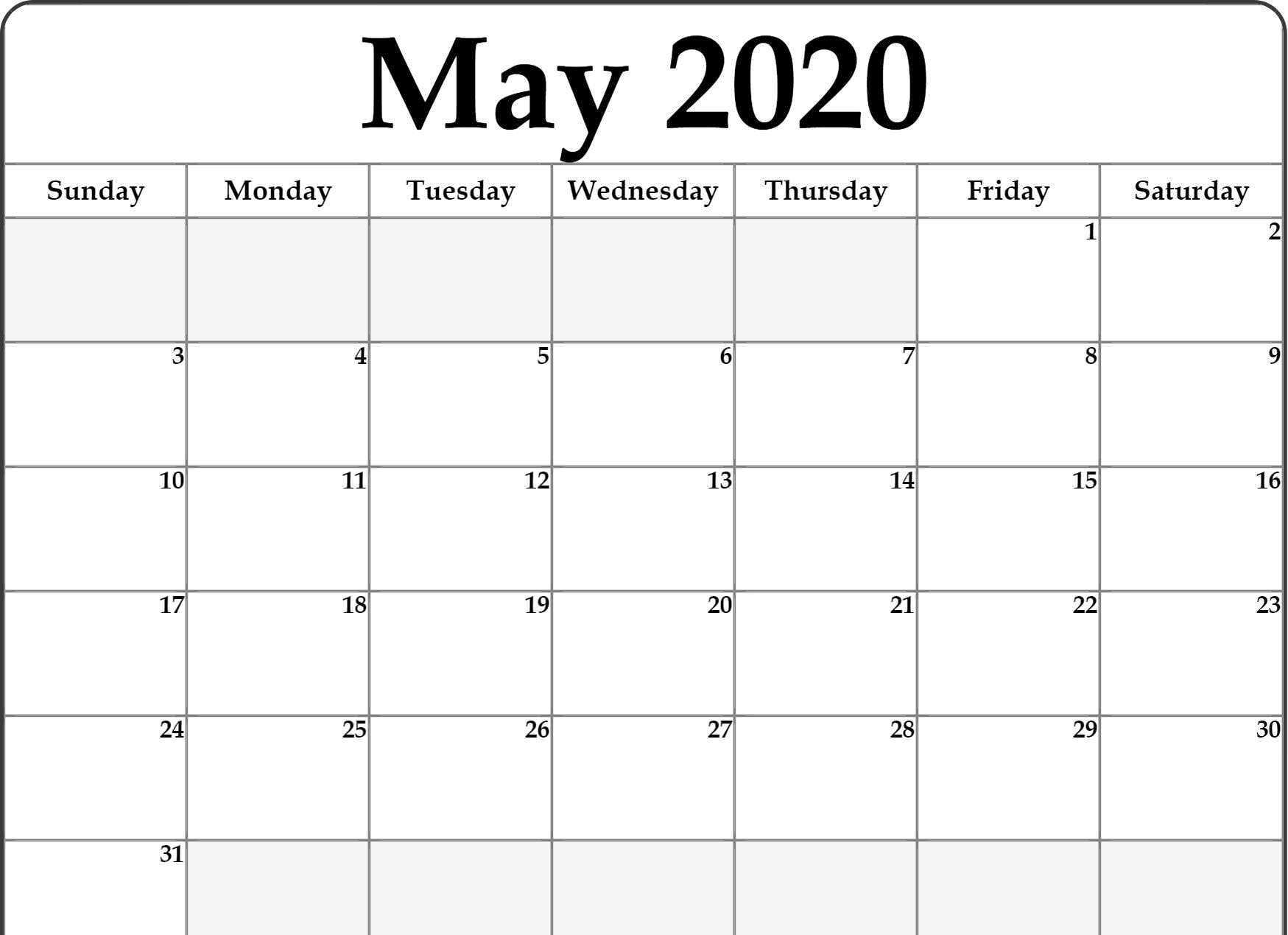 Free Blank May 2020 Calendar Template