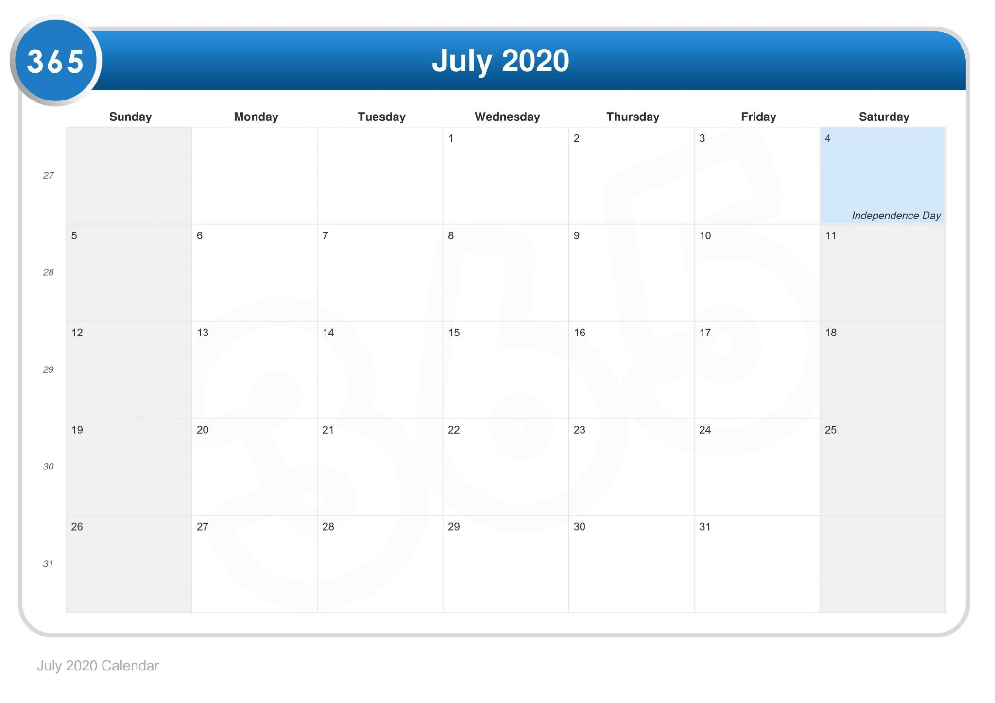 July 2020 calendar Holidays Template Scaled