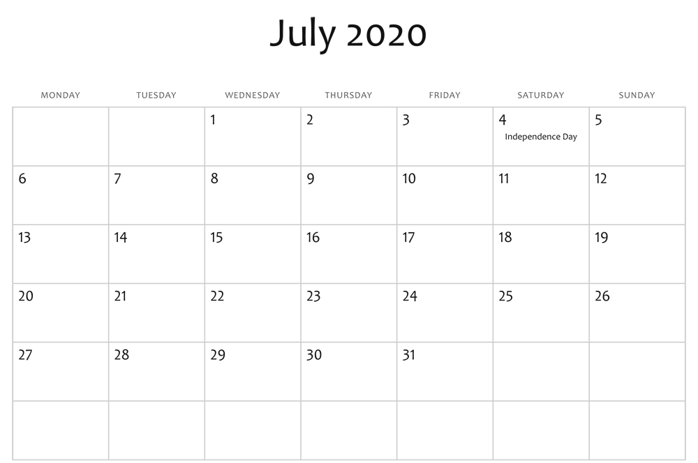 July 2020 Editable Calendar Holidays