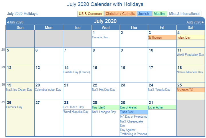 July Calendar 2020 Holidays