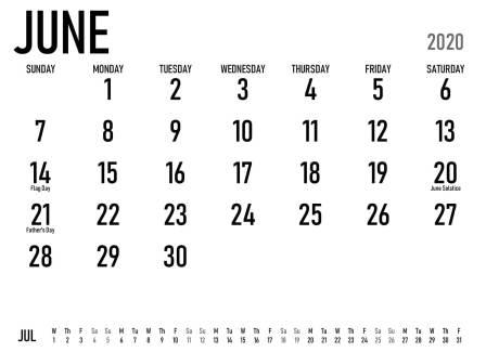 June 2020 Fillable Calendar Template
