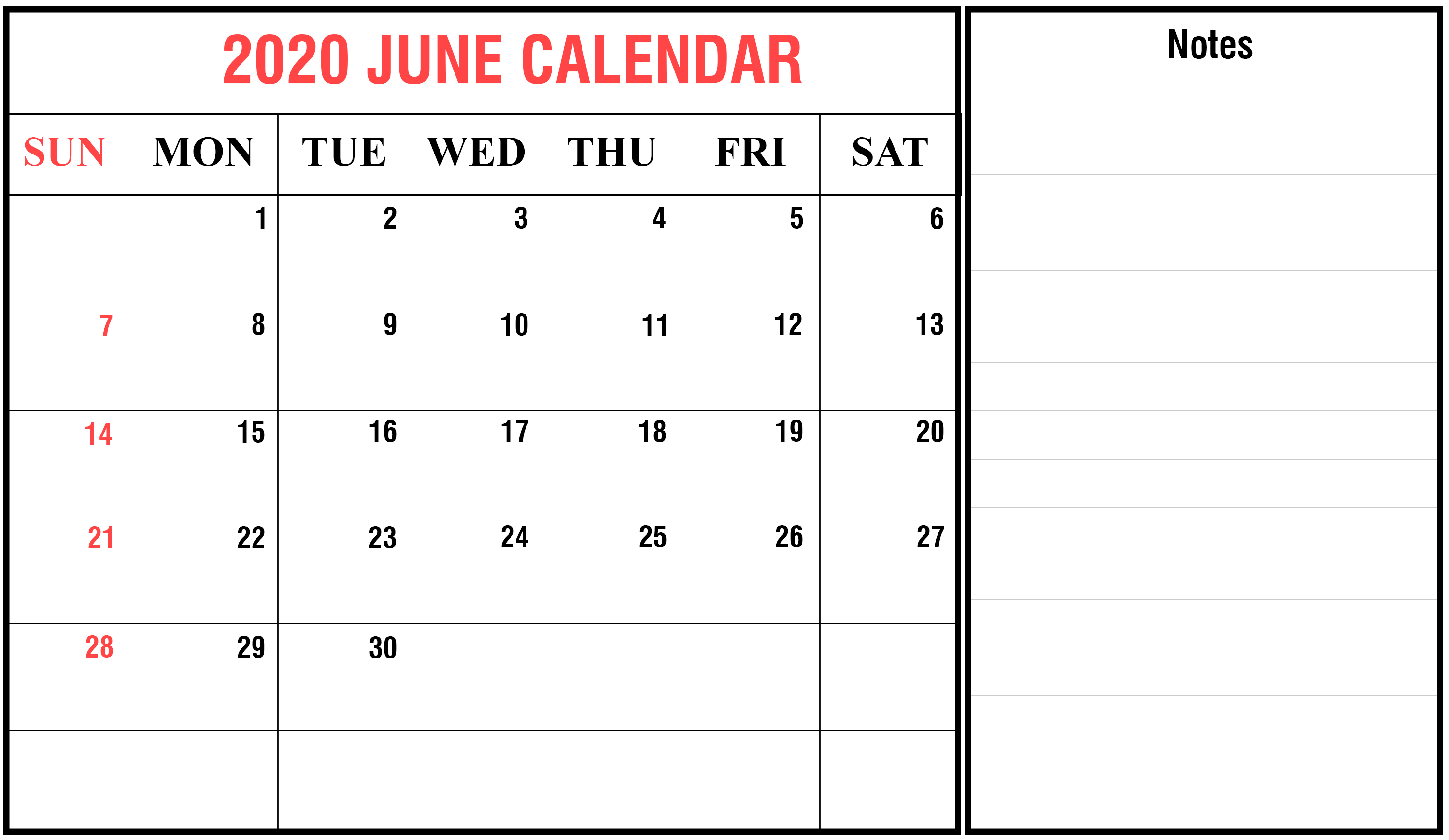 June 2020 Fillable Calendar with Large Space Notes