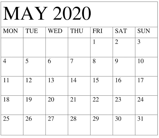 May 2020 Calendar One Page