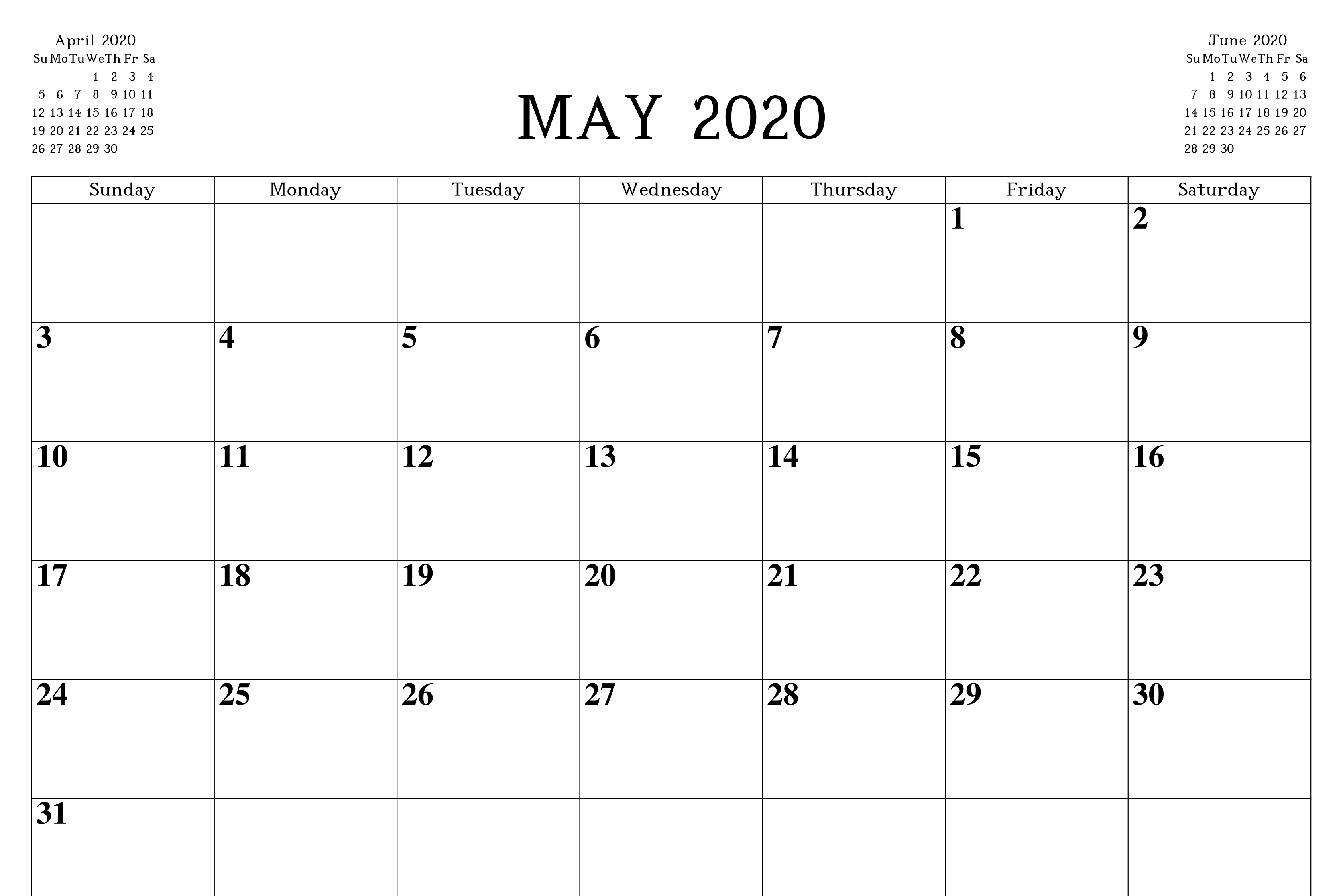 Printable May 2020 Blank Calendar with Notes